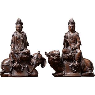 佛香天逸銅佛文殊普賢菩薩佛像家用供奉擺件觀音菩薩地藏王菩佛像