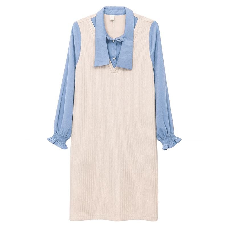 加绒加厚打底连衣裙秋冬女长袖针织蝴蝶结假两件收腰显瘦新款气质