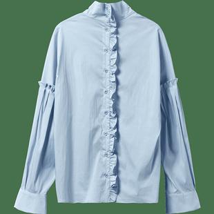 艺诗韩版立领长袖纯色简约单排扣上衣