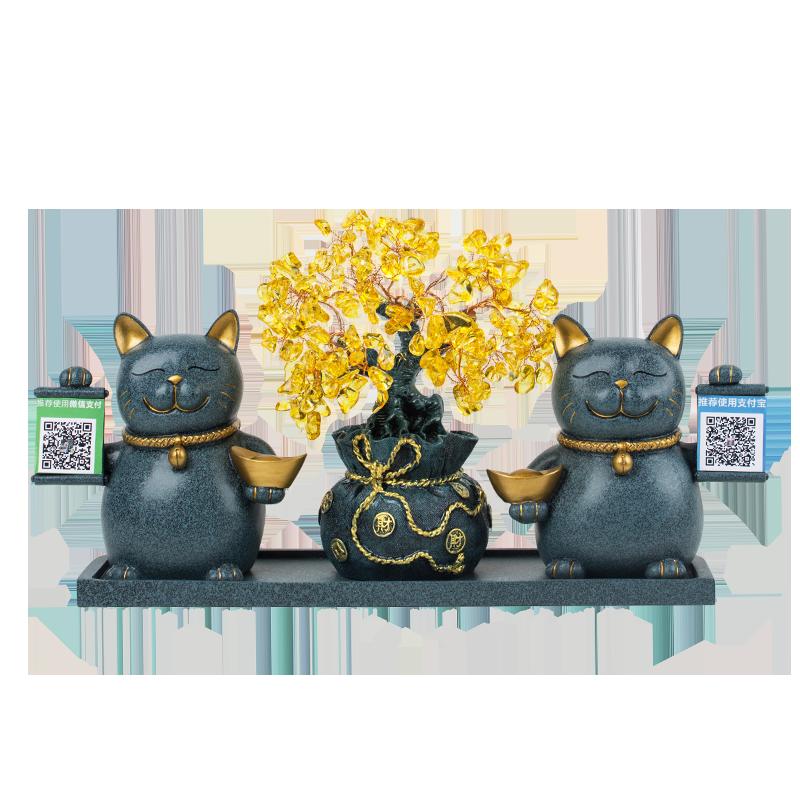 创意招财猫小摆件送店铺开业礼品个性定制二维码发财树收银台装饰