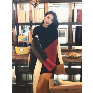 2020年春季針織裙拼色桔梗法式連衣裙復古港風chic韓系少女穿搭潮