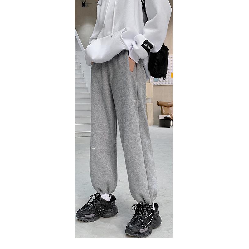 【南极人】加绒灰色运动裤宽松束脚