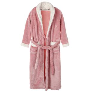 珊瑚绒秋冬季女童加长款翻领浴袍