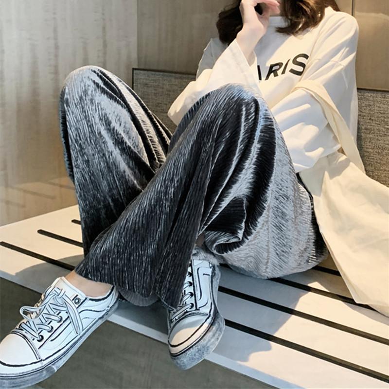 金丝绒阔腿裤女春秋冬高腰垂感宽松直筒坠感显瘦百搭休闲丝绒长裤
