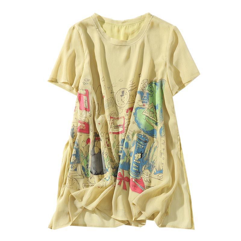 九月陌墨 2019夏季新款女装卡通图案褶皱雪纺衫 休闲宽松短袖上衣