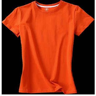 橘色t恤女夏潮短袖歐美風橙色寬鬆大領口純棉歐貨歐洲站全棉體恤