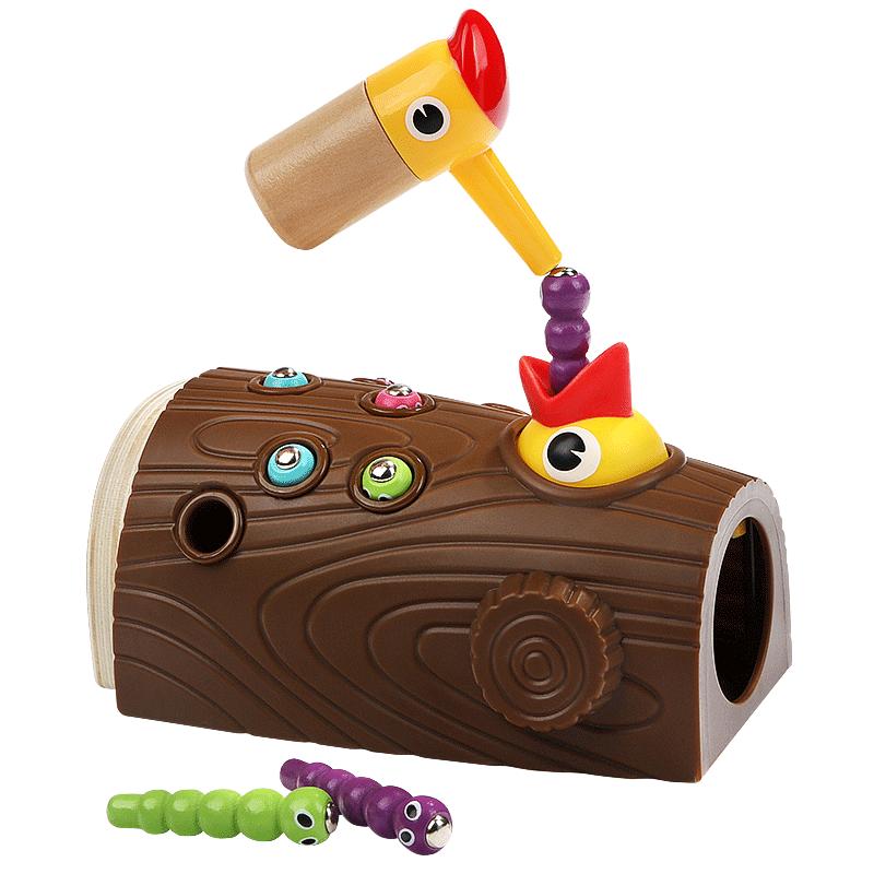特宝儿啄木鸟玩具捉虫喂小鸟鸡抓吃虫子1男2女孩宝宝钓鱼儿童益智