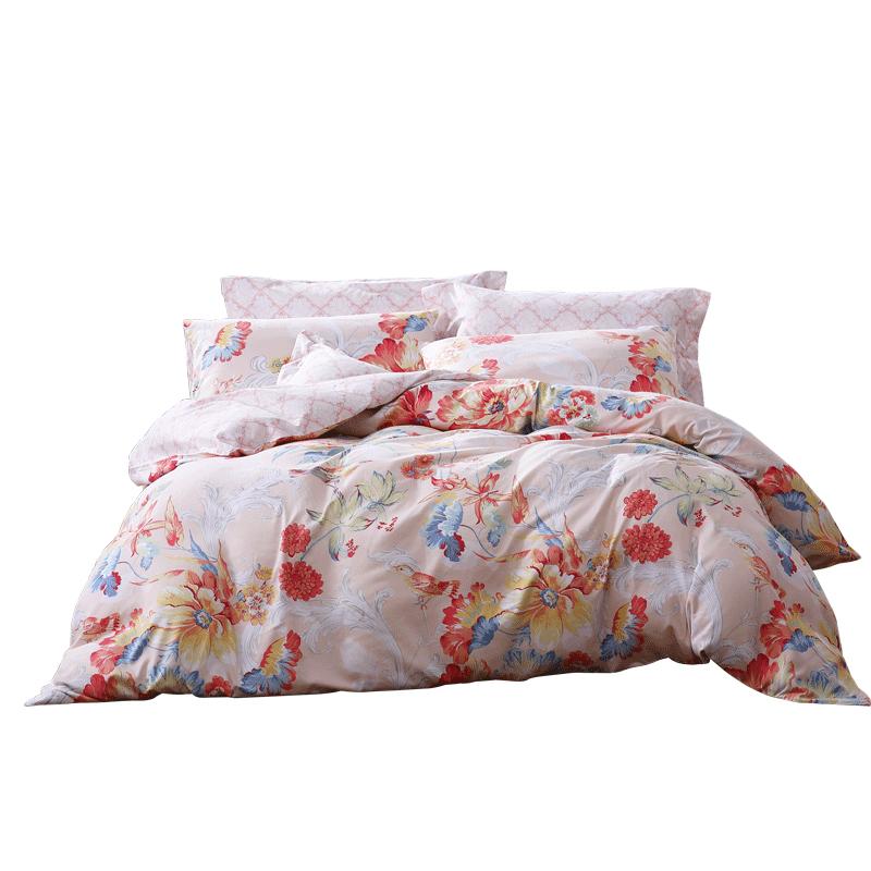 富安娜家纺圣之花双面磨毛四件套床上用品被套1.2m宿舍床单三件套