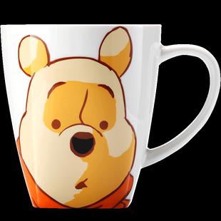 迪士尼正品小熊維尼水杯 大容量馬克杯帶蓋勺卡通陶瓷杯 咖啡杯子