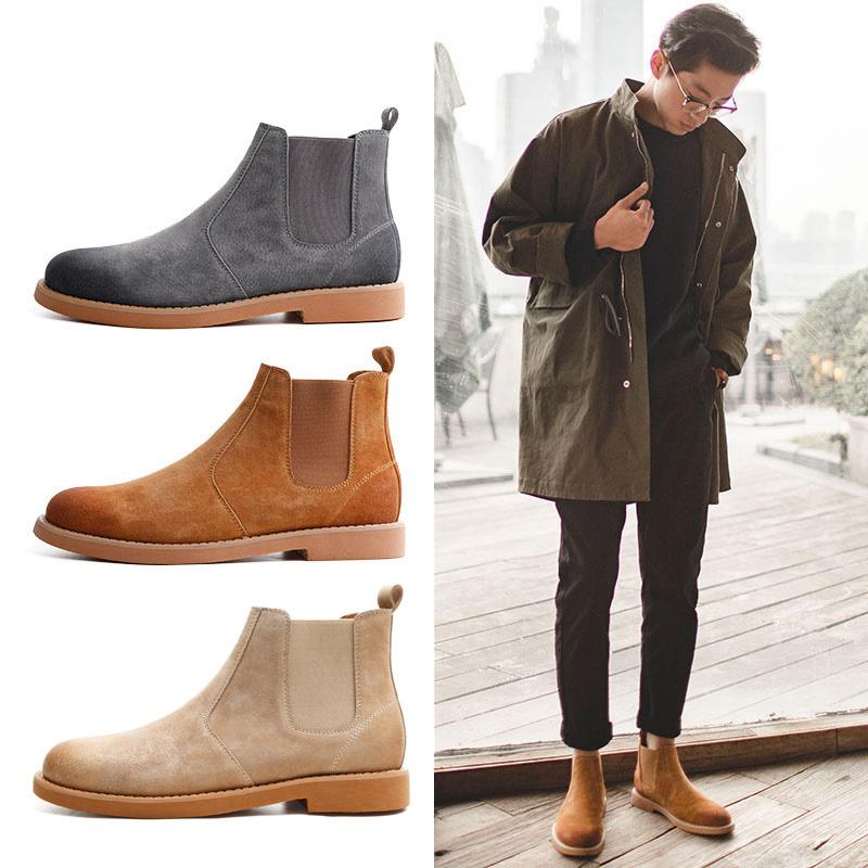 代购切尔西靴冬季鞋子加绒保暖马丁靴男靴高帮英伦风中帮短靴子潮