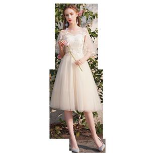 仙气质香槟色2019新款夏季伴娘服