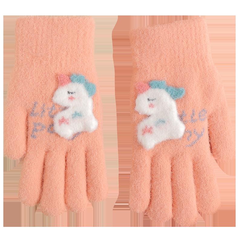 冬季儿童手套加绒加厚棉保暖7岁10大童男女童小学生骑行写字可爱