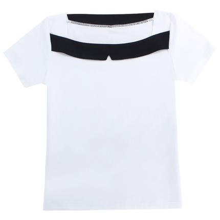 娃娃领黑白拼接女短袖夏季肩t恤衫