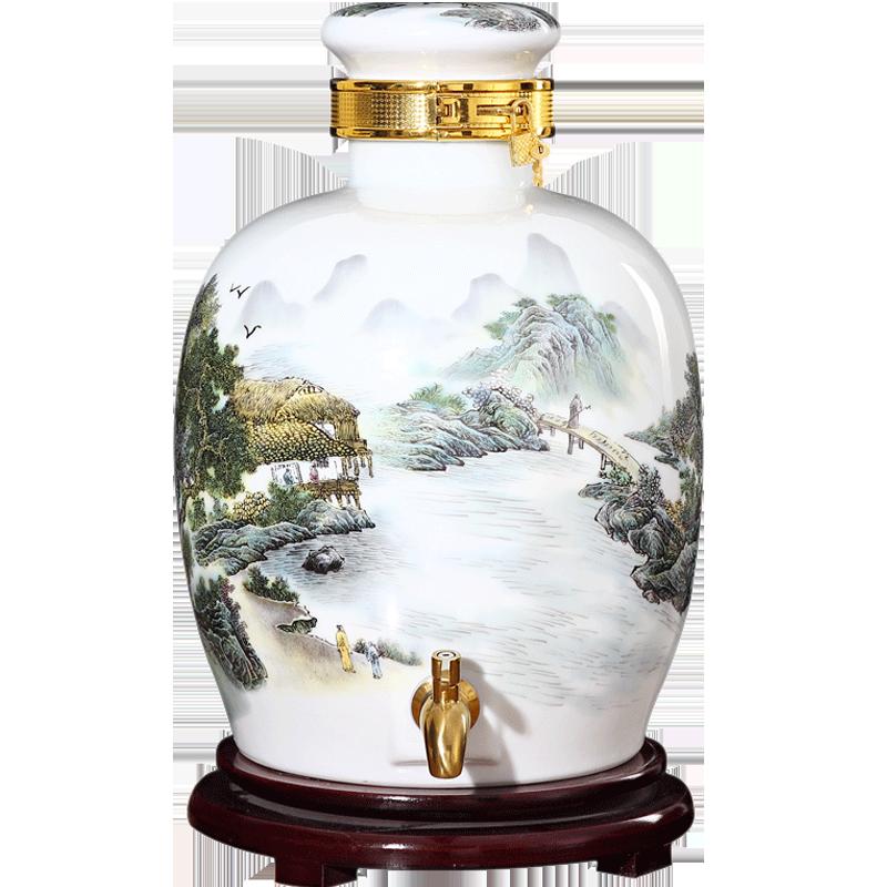 景德镇陶瓷泡酒坛子家用密封10斤20斤50斤带龙头小酒缸罐酒瓶酒壶