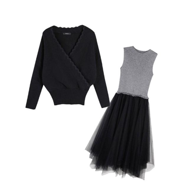 春秋装2020年新款名媛气质套装赫本风女士毛衣洋气减龄时尚两件套