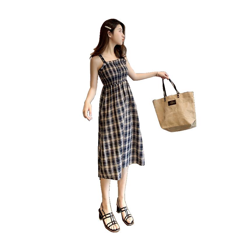 2019春夏新款韩版气质女学生ins学院风闺蜜装格子吊带连衣裙
