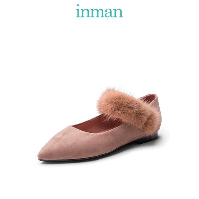 茵曼女鞋2019新款尖头绒面单鞋两穿浅口舒适chic港味女鞋平跟鞋