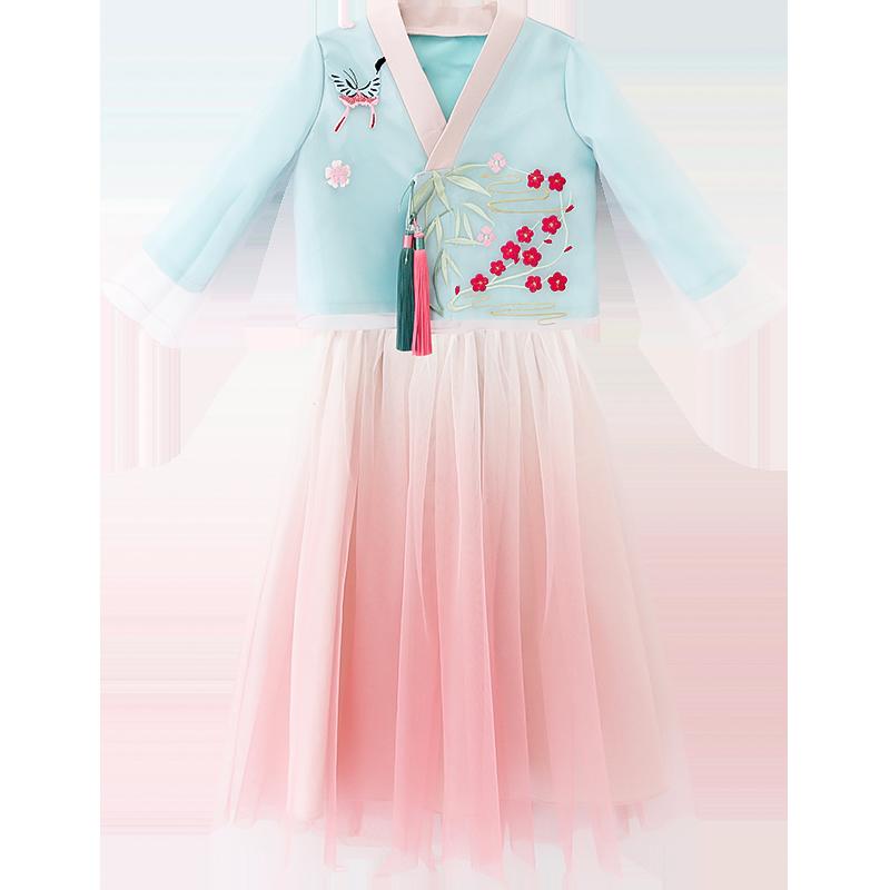 小兔桔子女童汉服套装自由搭配儿童网纱蓬蓬半身裙中式复古上衣