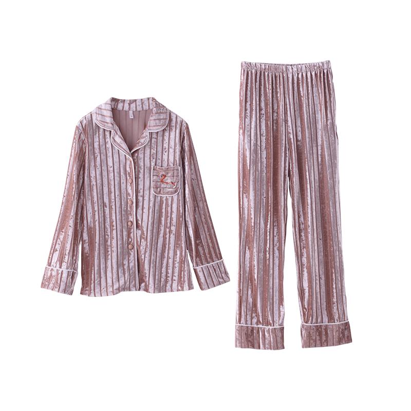 睡衣女士春秋款秋季韩国绒天鹅绒金丝绒长袖薄款韩版休闲两件套装