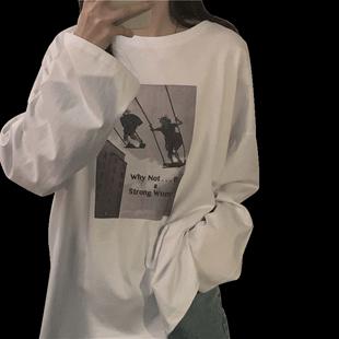 長袖t恤女2020春秋韓版ins學生寬鬆bf網紅mschf白色泫雅風上衣服