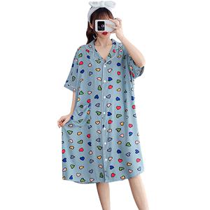 夏季加长棉绸宽松开衫短袖孕妇睡裙