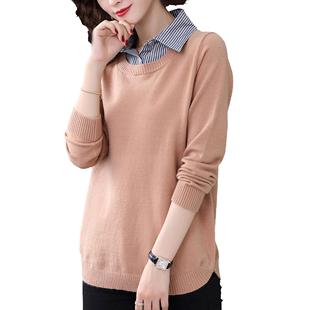 2019秋季襯衫領毛衣女寬鬆外穿時尚新款針織衫假兩件長袖打底上衣