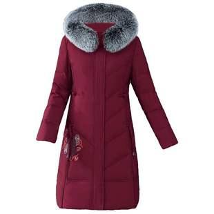 妈妈冬装棉衣外套加厚保暖洋气中年妇女棉袄2020新款中长羽绒棉服