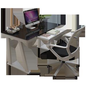 耐实简约现代钢化玻璃台式电脑桌