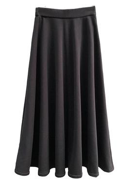 古韵自制长款大摆裙显瘦松紧高腰及踝中长半身裙女21秋冬黑色长裙