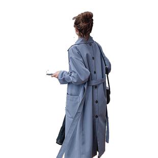 風衣女2019秋季新款流行學生寬鬆過膝春秋中長款小個子外套女藍