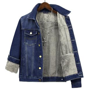 秋冬季牛仔外套男加絨加厚韓版潮流寬鬆衣褂大碼服棉上衣百搭夾克
