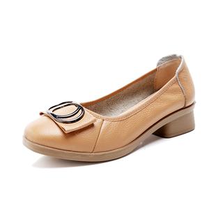 秋季真皮工作鞋软底工装鞋空姐皮鞋