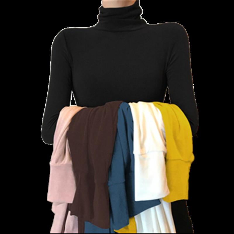 高领打底衫女长袖秋冬韩版薄款紧身内搭t恤洋气修身纯色超火上衣