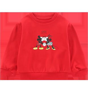 迪士尼女童洋气中小童时尚新年卫衣