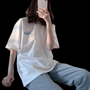 原宿百搭白色ins上衣bf夏季ulzzang網紅短袖t恤女寬鬆韓版學生潮