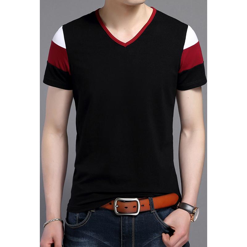 乔诺恩男士夏季短袖T恤打底衫 韩版修身时尚V领套头装青年款男上