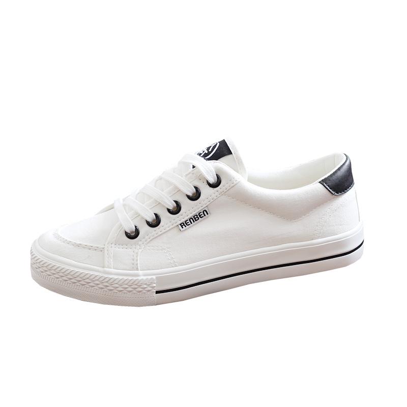 人本帆布鞋女运动小白鞋2019春季新款百搭韩版黑色板鞋子学生布鞋