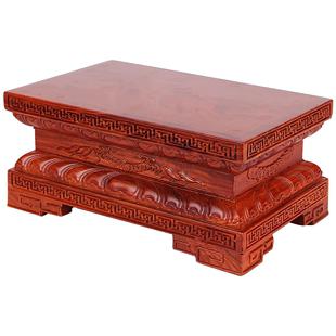 紅木佛像蓮花底座金剛觀音實木雕刻花梨木長方形擺件墊高托架定製