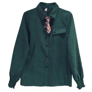 2020秋冬新款燈芯絨襯衫設計感小眾長袖寬鬆上衣女士加厚加絨襯衣