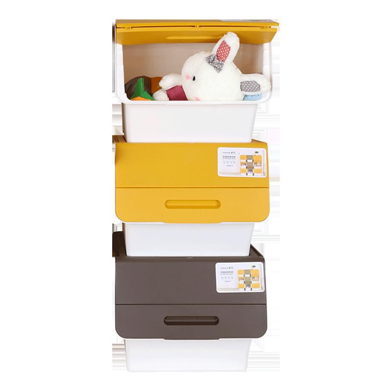 【猫超】茶花34L加厚大号储物箱3个装