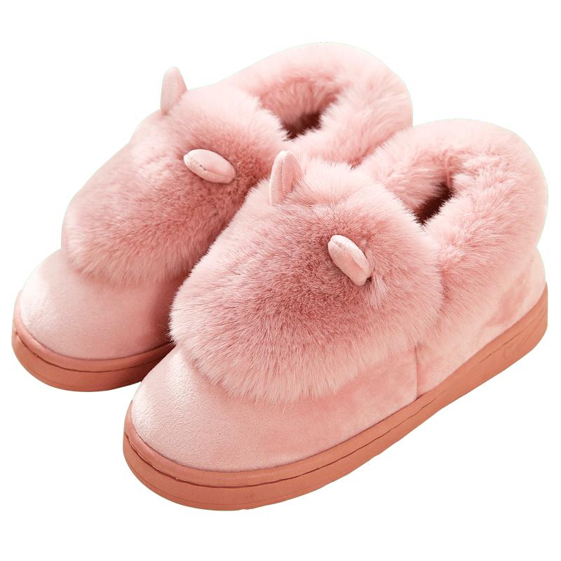 男女情侣高跟秋冬季女包跟外穿毛毛绒室内居家防滑增高厚底棉拖鞋