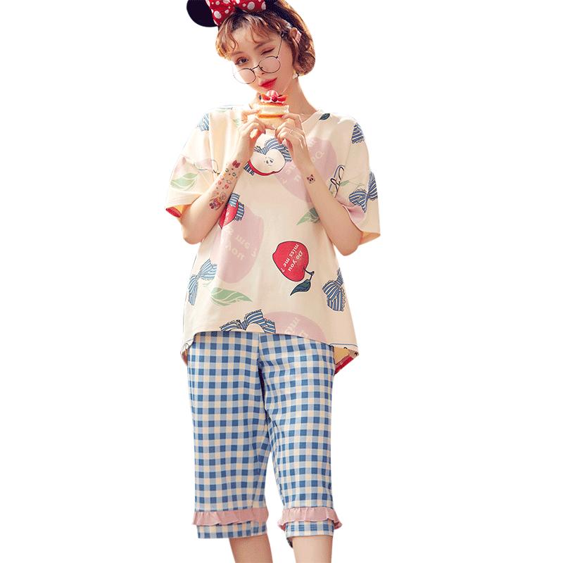 韩版七分裤短袖纯棉睡衣套装