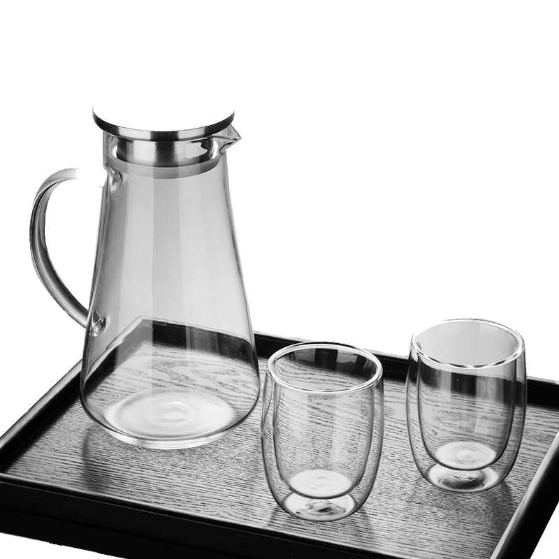 家用冷水壶玻璃耐热防爆大容量水瓶套装凉水杯过滤泡茶壶花茶欧式