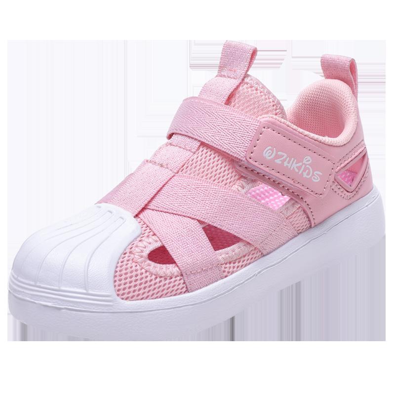 贝壳头童鞋夏季包头男童凉鞋网面透气儿童运动鞋软底女童宝宝鞋子