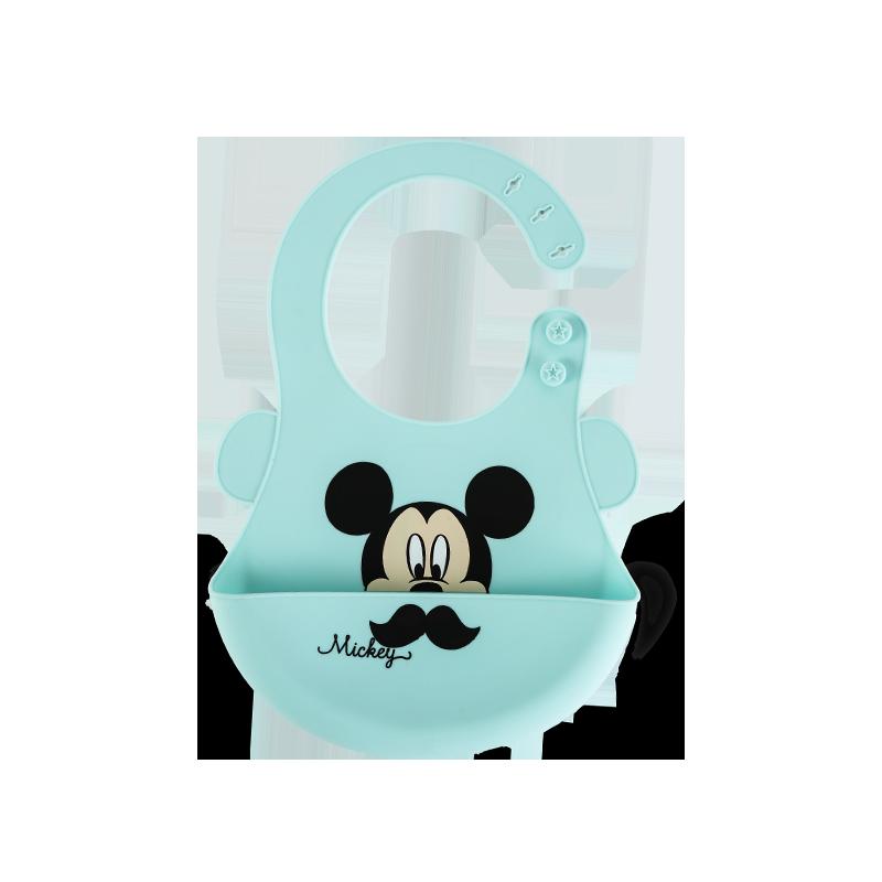 迪士尼宝宝吃饭围兜硅胶防水立体超