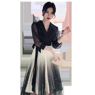 小個子晚禮服女宴會氣質平時可穿黑色漸變年會高端18歲女生連衣裙
