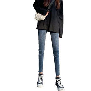 網紅牛仔褲女2020春裝新款高腰八分緊身顯瘦顯高百搭九分小腳褲子