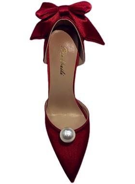 2021款蝴蝶结珍珠尖头红色5cm高跟单鞋女细跟白色主婚纱新娘婚鞋