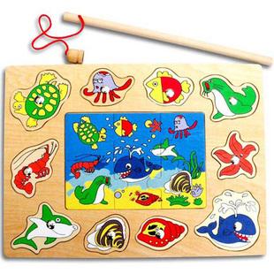 出口儿童木制磁性钓鱼拼板拼图积木