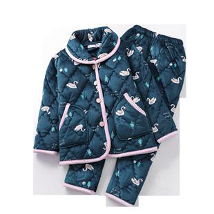 冬季女士中老年人款珊瑚絨夾棉加厚睡衣套裝加肥加大碼棉襖婆媽媽